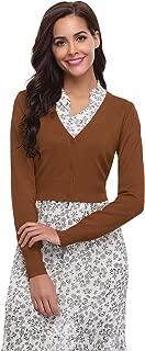 Abollria Women Solid Button Down Long Sleeve Cropped Bolero Cardigan (S-XXL)