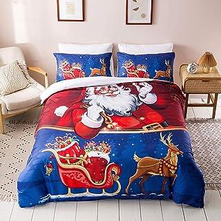 Christmas Duvet Cover Queen Set 3 Piece Santa Duvet Cover Santa Claus Print Decorative Bedding Set for New Year Holidays 3...