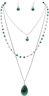 Bocar 3 Layer Jewelry Set Long Chain Pendant Bead Necklace Earring for Women
