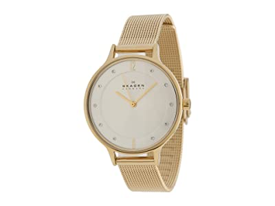 Skagen Anita Three-Hand Watch (SKW2150 Gold Stainless Steel Mesh) Analog Watches