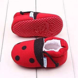 WIN ビーシューズ ファーストシューズ ビー 子供 靴 赤ちゃん 滑め防ぐ靴 室内履き ルームシューズ ソフトソール 出産お祝いプレゼントにも (13cm, 虫 起毛)