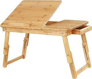 comprar comparacion SONGMICS Mesa de Bambú para Ordenador Portátil, Tableta Inclinable, Mesa Plegable y Ajustable para Laptop,63,5 x 35 x 33...