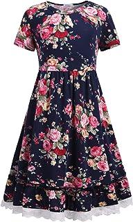 Balasha Girls Summer Flower Dress Swing Short Sleeve Casual Dresses 3-12Y