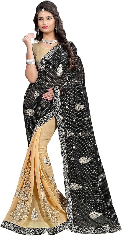 Sangrahan Indian Women Saree Designer Party wear Wedding Black color Sari K551150274