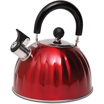 Mr. Coffee 108074.01Claredale Tetera con silbido, 1.61 L, rojo, Rojo metálico, 2.1 Quarts, 1
