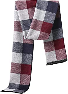 MuNiSa Men's Winter Scarf Plaid Stripes Long Cashmere Scarves with Tassel