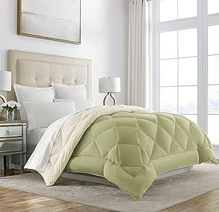 Sleep Restoration Goose Down Alternative Comforter - Reversible - All Season Hotel Quality Luxury Hypoallergenic Comforter -King/Cal King - Sage/Ivory