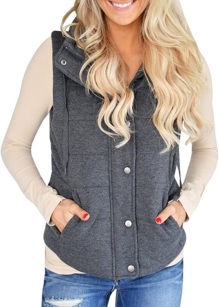 Ofenbuy Womens Quilted Puffer Vest Lightweight Drawstring Casual Zip up Jacket Outerwear with Pockets