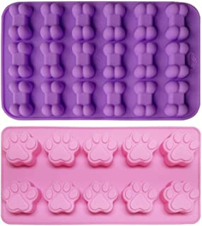 2-Piece Puppy Dog Paw Baking pan, Dog Bone Cookie Cutter Set, Silicone Mold, Ice Cube Mold, Chocolate Mold,Candy Making Molds