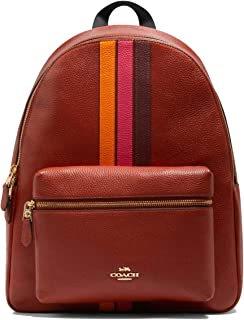 Charlie Leather Backpack with Varsity Stripe - #4411