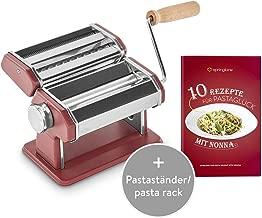 Macchina manuale per pasta, Acciaio inossidabile, con asciugatrice per pasta e 3 accessori da taglio per spaghetti, lasagne, tagliatelle - Ruby Earth