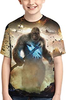 Boys God-Zilla Vs Kong Tops Tees Youth Boys Girls Dinosaurs and Monsters T 3D Printed Shirts for Teen Boys Short Sleeves F...