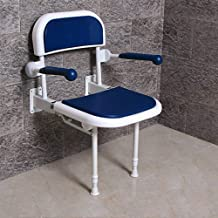 JCWANGDEFU Folding Shower Seat Stool Chair Wall Mounted for Bathroom, with Handrails and Backrest, Load of 550 lbs