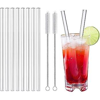 Pajitas de vidrio LessMo de 8 piezas, pajitas de vidrio reutilizables de 20 cm con 2 pinceles de limpieza para batidos, batidos, cócteles y bebidas calientes (8P - 20cm x ø10mm - Derecho)