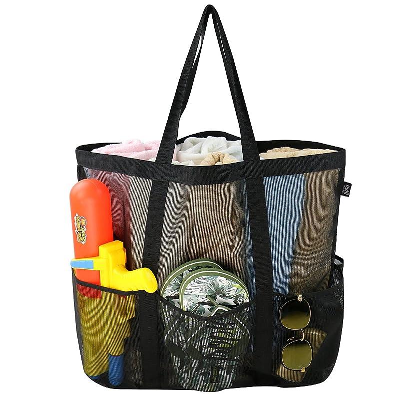 iwill CREATE PRO Large Mesh Beach Tote Bag, Ladies Shopping Shoulder Bag, Black