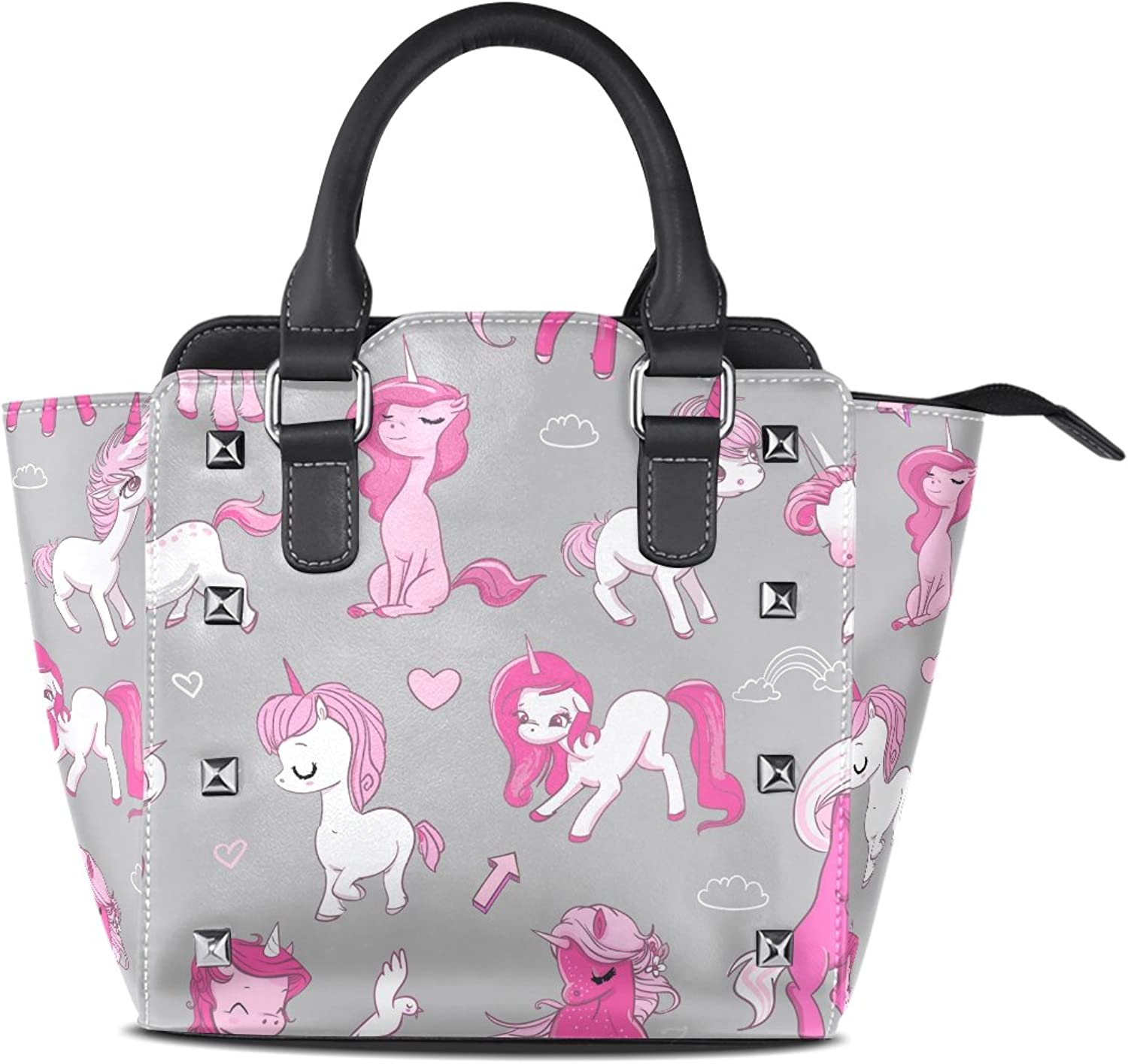 Sunlome Pink Unicorns Print Handbags Women's PU Leather Top-Handle Shoulder Bags