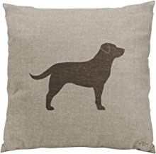 Gygarden Chocolate Labrador Silhouette Faux Linen Style Romantic Hidden Zipper Home Sofa Decorative Throw Pillow Cover Cushion Case 18x18 Inch Square Two Sides Design Printed Pillowcase