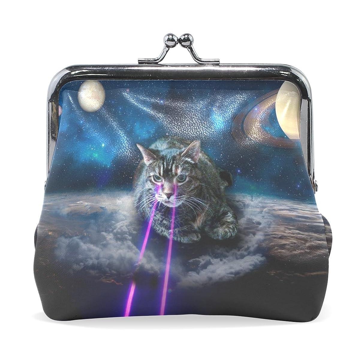 外交広告主マーケティングGORIRA(ゴリラ) 外星球 猫 レーザー 超繊レザー&木綿 財布 がま口式小銭入れ ミニがま口