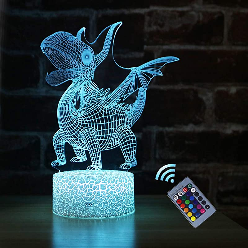 Palawell Dinosaur 3D Night Light For Boys 15 Changing Color Remote Control Unicorn Kids Room Decor Lighting With Charger