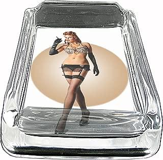Pinup Girl Smoking Sexy Vintage Glass Square Ashtray