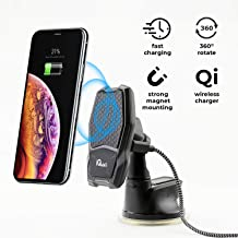 Wireless Magnetic Phone car Mount Charger Qi Car Holder Fast Charger for Phone Dashboard Windshield - 2 in 1 Vehicle Smart Window Kit for Smartphones Magnet Charge Cell Qi Compatible iPhone Galaxy