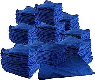 【iMakim's】 マイクロファイバー タオル 多目的 万能 クロス 業務用 ダスター 洗車 キッチン まとめ買い 100枚セット 色:青