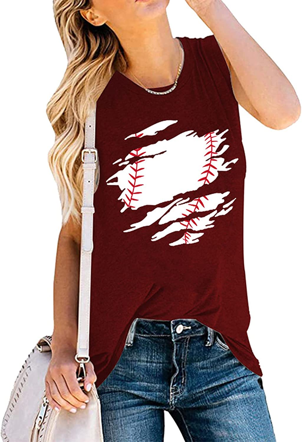 WANSOTRE Summer Plus Size Loose Blouses for Women, Sleeveless Baseball Printed Top Loose Casual Vest Fashion O-Neck T-Shirt