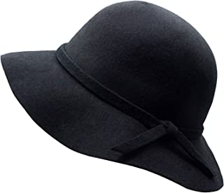 Kids Girl's Vintage Dome 100% Wool Felt Bowler Cap Floppy Hat Bow