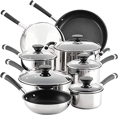 Cookware set. Best 13 Piece Pots and Pans Non Stick, Stainless Steel Induction Cooking Frying Kit With Tempered Glass Lids. Oven Safe. Saucepan, Frying Pan, Stock Pot, Skillet. Silver