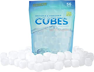 Urban Essentials Reusable Ice Cubes - Quick Freeze Clear Plastic Square Icecubes With Resealable Bag Pack Of 56