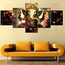 Black and White Artwork for Wall Paintings for Bedroom 5 PCS Ganesha Hindu God Canvas Pictures Artwork Home Decor Painting Modern Posters and Prints Framed Gallery-wrapped Ready to Hang(50''Wx24''H)