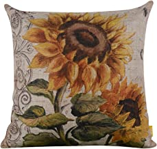 LINKWELL 18x18 Shabby Chic Vintage Sunflower Big Burlap Cushion Covers Pillow Case (CC938)