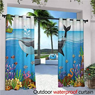 Jktown Whale Outdoor Curtain Panel for Patio A Massive Whale The Master of The Oceans Themed Around Planet Nature for Porch & Beach & Patio 120x96 INCH,Dark Blue Black and Orange