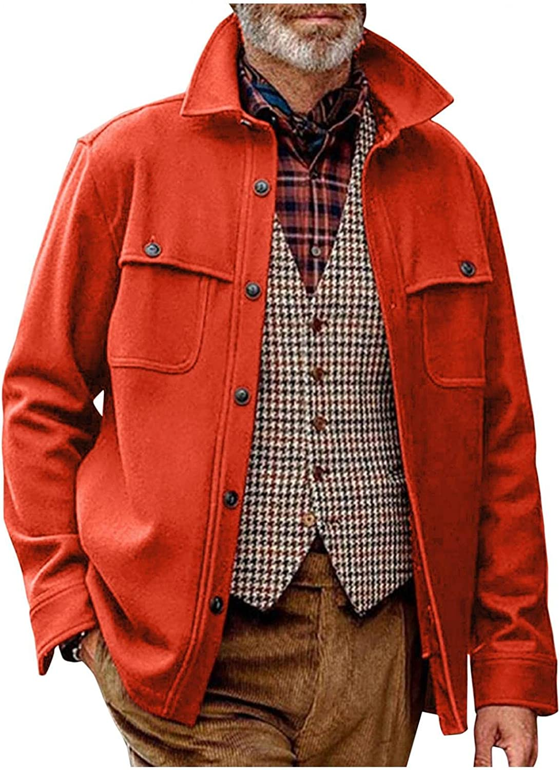 Mens Autumn and Winter Jackets Casual Loose Fit Single Breasted Coat Pure Color Softshell Stand Collar Jacket Overcoat