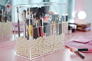 Newslly Clear Acrylic Makeup Organizer with 3 Brush Holder Compartment and Dustproof Lid, Cosmetic Brush Storage Box with ...