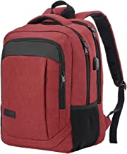 Monsdle Travel Laptop Backpack Anti Theft Water Resistant Backpacks School Computer Bookbag with USB Charging Port for Men Women College Students Fits 15.6 Inch Laptop (Red)