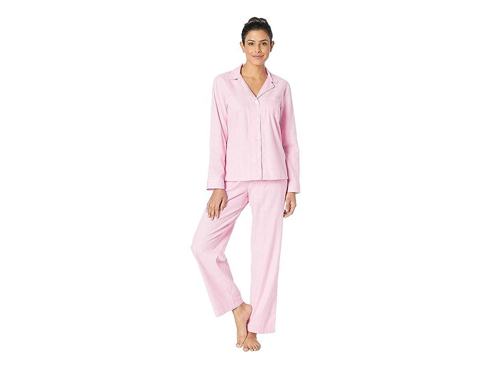 LAUREN Ralph Lauren Brushed Twill Long Sleeve Notch Collar Pajama Set (Pink Plaid) Women