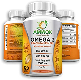Amwok Purity Tested Concentrated Omega 3 Fish Oil Nutritional Supplement with Essential EPA DHA Fatty acids with Natural Lemon Oil Flavor