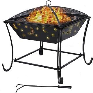 femor Feuerschale mit Grillrost Multifunktional Fire Pit für Heizung/BBQ Grill,Feuerkorb mit Funkenschutzgitter,Feuerstelle für Den Garten Terrasse,616162cm