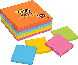 Post-it Super Sticky Notes, 7,6 x 7,6 cm, 24 blocos, 2 x The Sticking Power, Coleção Rio de Janerio, Cores brilhantes (lar...