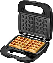 Laukingdom Waffle Maker, Sandwich Maker, Panini Press Grill,Toaster and 3-in-1 Detachable Non-stick Coating, Stainless Steel Surface and Drip Tray, Breakfast Sandwich Maker 2 Slice Black