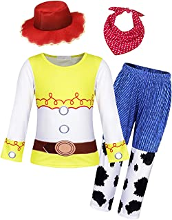 Little Girls Jessie Dress Up Outfit Halloween Costume Party Dresses Short/Long Sleeve