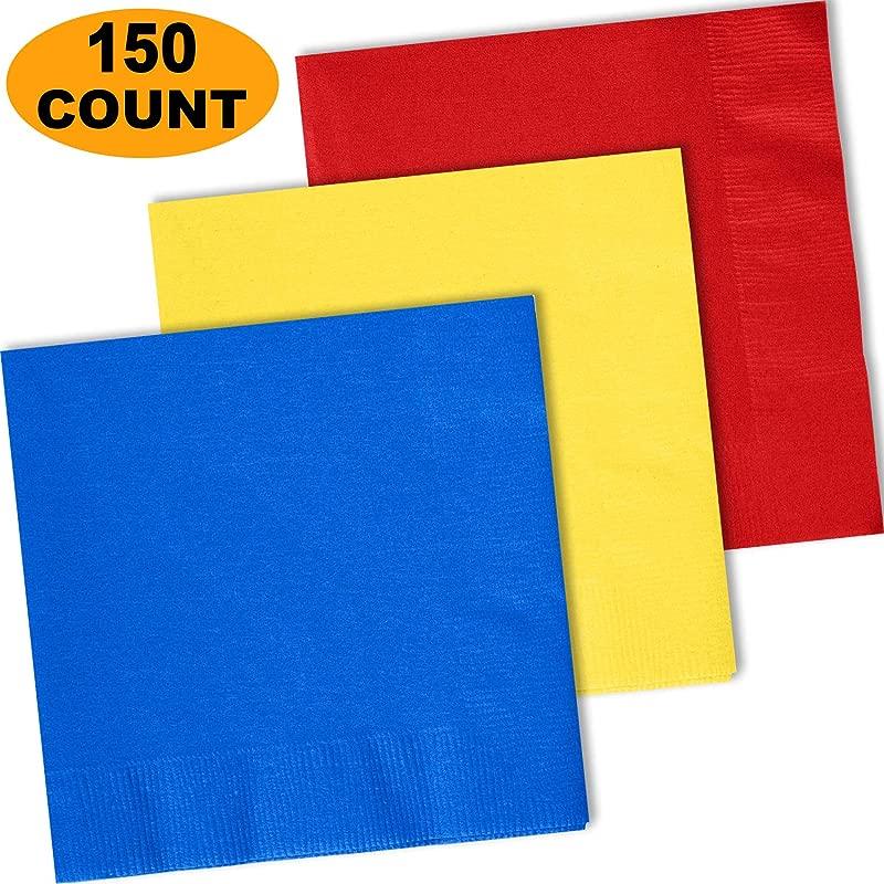 150 Lunch Napkins Cobalt Blue Lemon Yellow Red 50 Each Color 2 Ply Paper Dinner Napkins 6 5 Folded 13 5 Unfolded