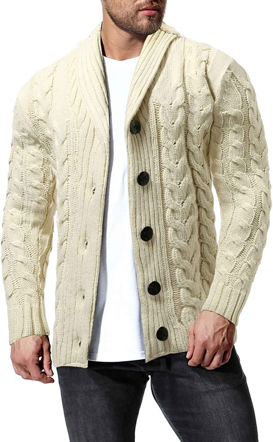 ZSBAYU Men's Fashion Cable-Knit Cardigan Sweaters Shawl Collar Casual Long Sleeve Jackets Button Sweaters