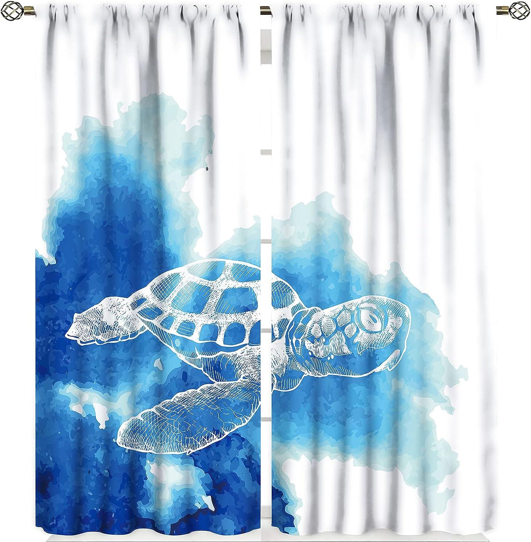 Marine Animal Darkening Sale price Curtains Watercolor Sea and Turtle Rapid rise Blue