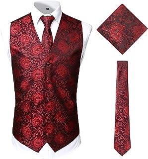 JOGAL Men's Paisley Jacquard Waistcoat Tie Hanky Vest Suit Tuxedo Set