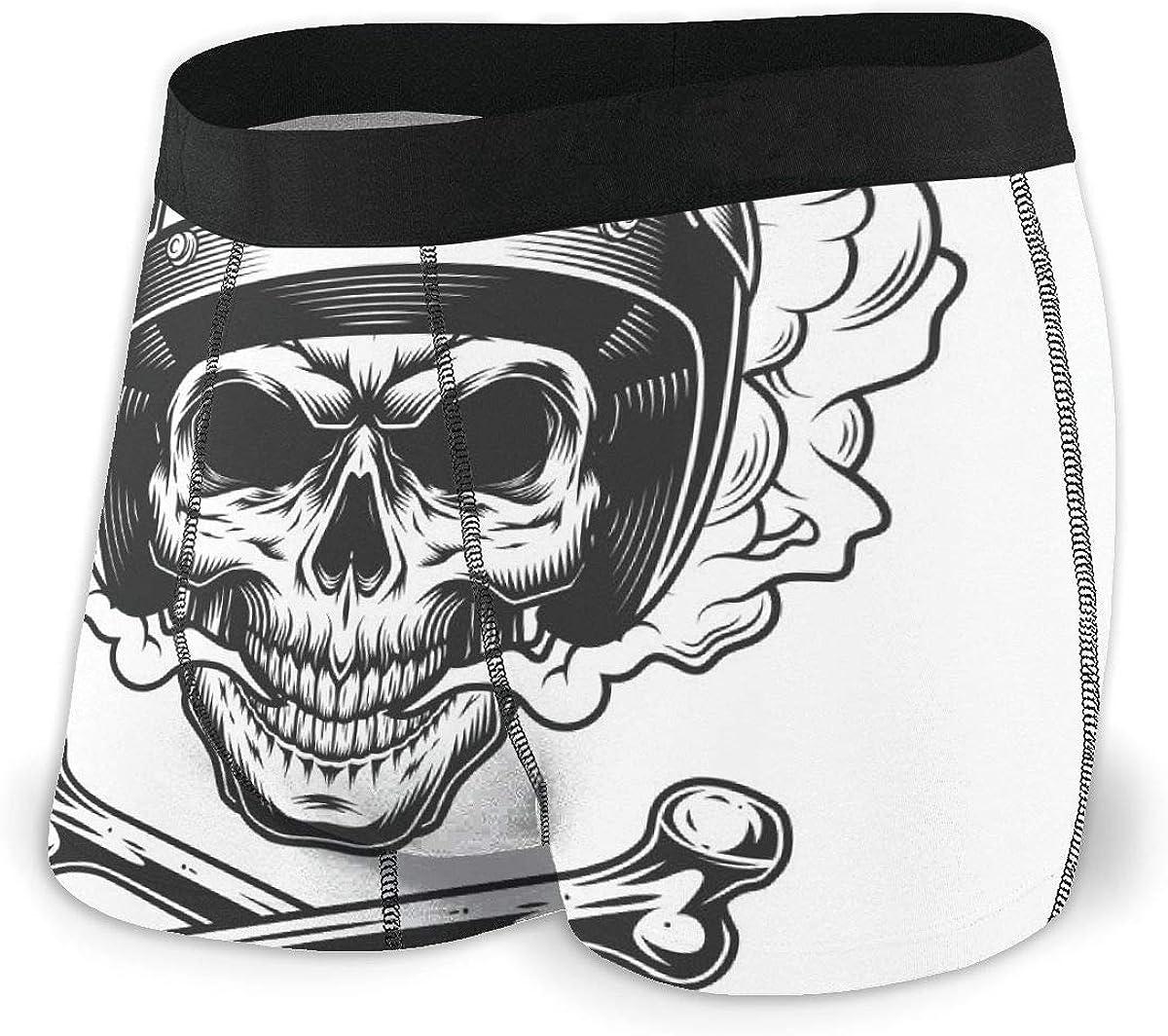 Mens Boxer Briefs Vintage Motorcyclist Smoke Skull Breathable Underwear