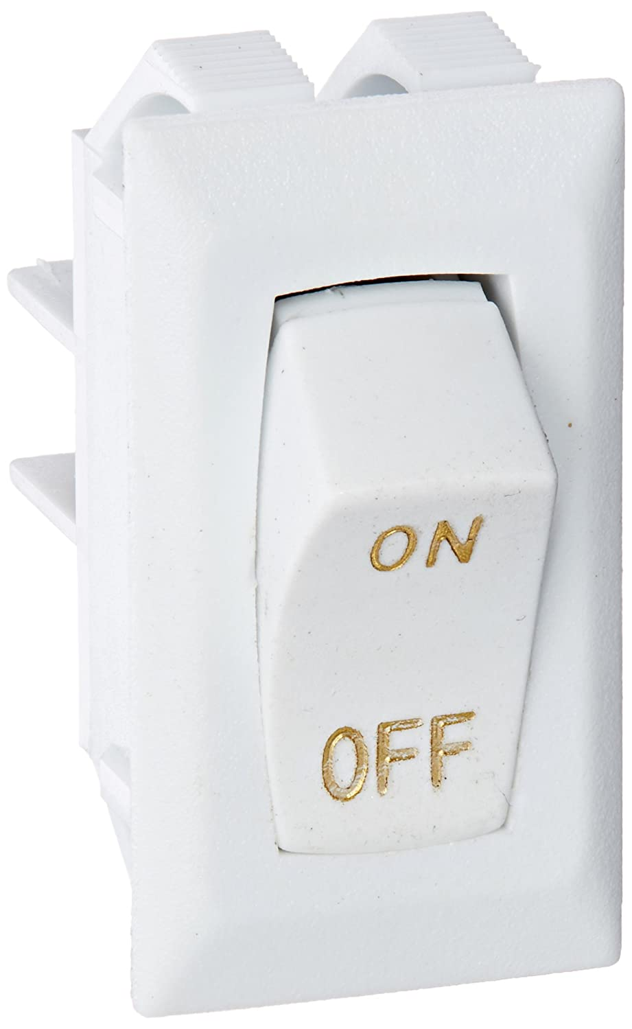 RV Designer Collection White S265 Rocker Switch 10A W/Gold Text