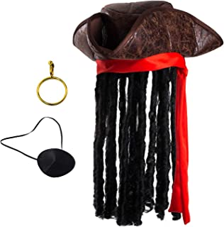 Tigerdoe Pirate Hat with Dreadlocks - Tricorn Pirate Hat - Caribbean Pirate Hat - Pirate Costume Accessories (3 Piece Set)