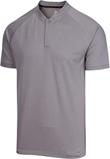 Collarless Golf Shirts for Men - Men's Casual Dry Fit Short Sleeve Polo, Lightweight and Breathable